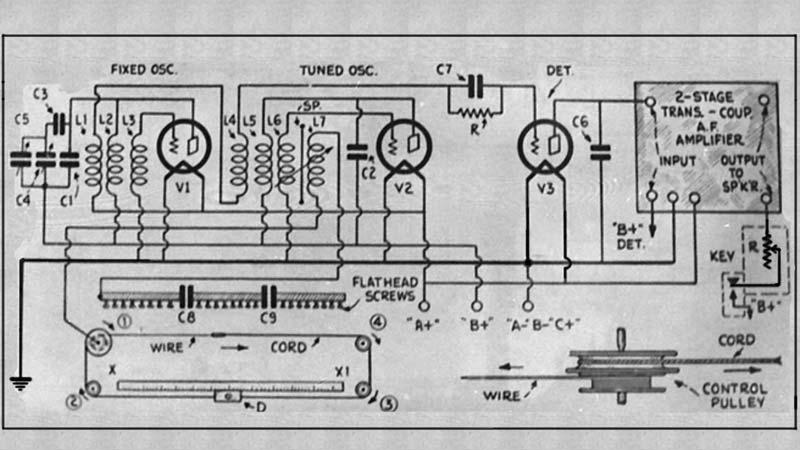 Schéma électrique de l'oscillateur à batement de l'instrument ondes Martenot