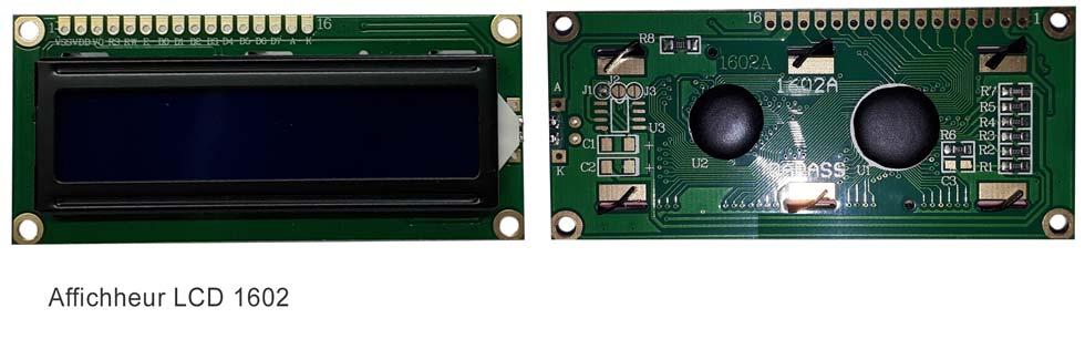 Détail du circuit de l'afficheur LCD 1602 : à gauche vue de face et à droite vu de derrière