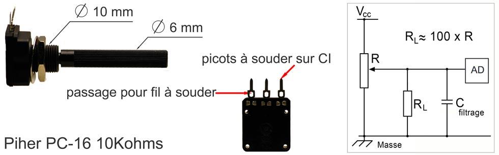 Vue agrandie du potentiomètre et schéma de connexion