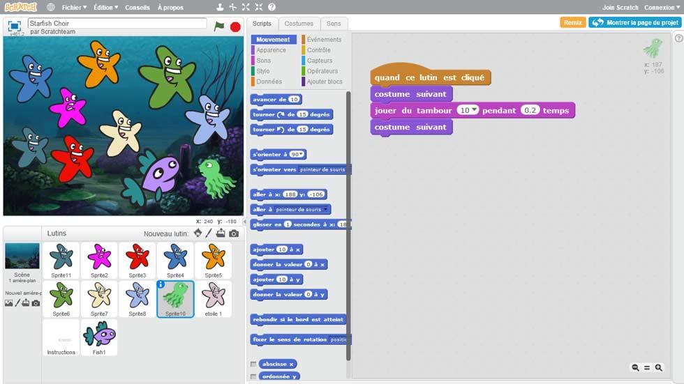 Capture d'écran de l'environnement Scratch